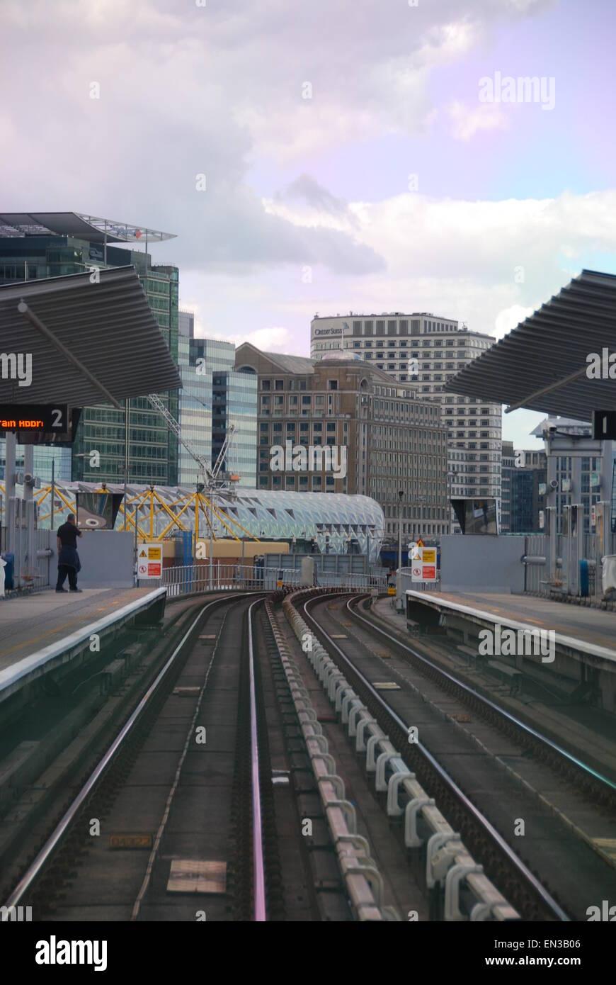 Poplar Docklands Light Railway Station London UK - Stock Image