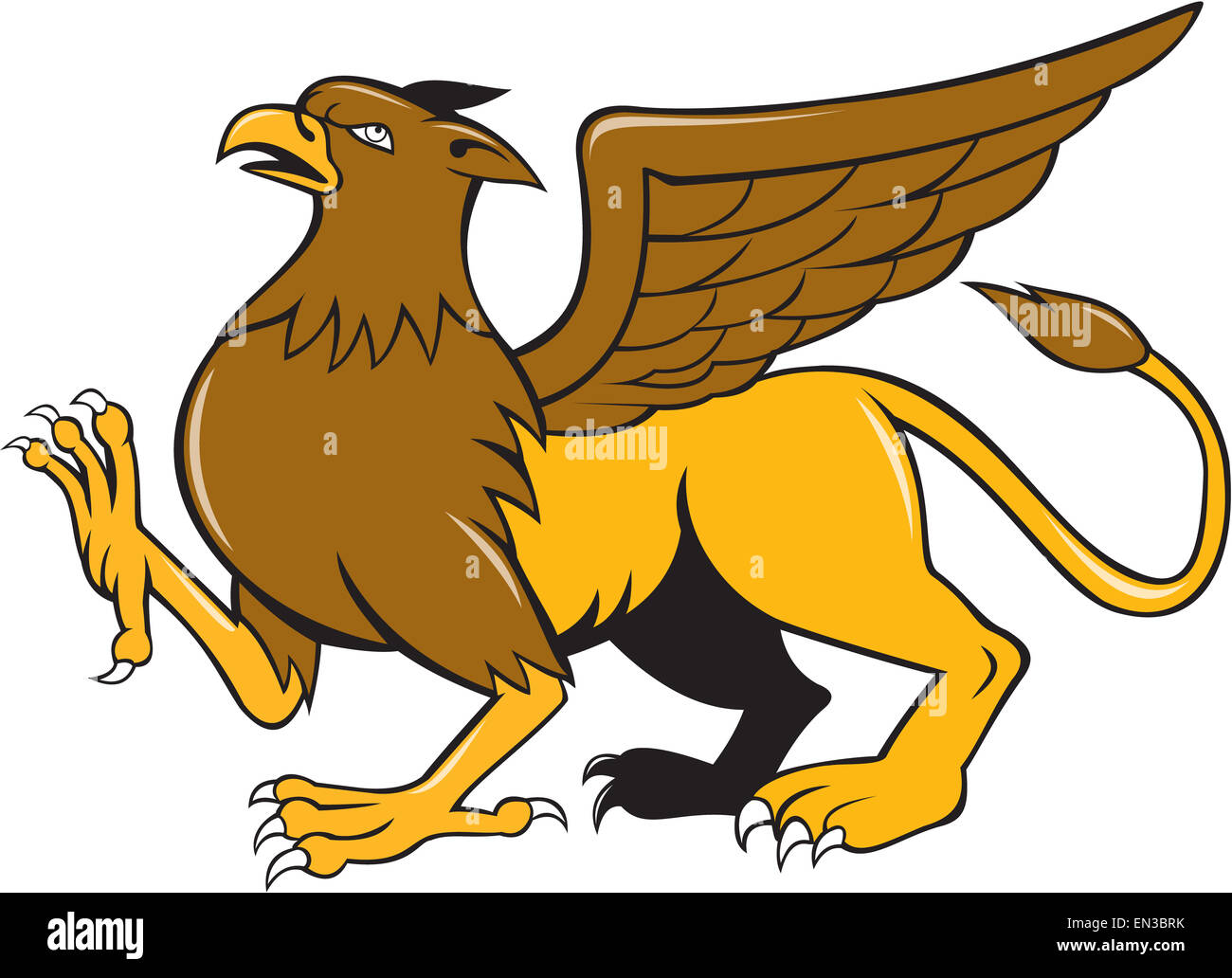 Illustration of a griffin, griffon, or gryphon marching prancing viewed from side set on isolated white background - Stock Image