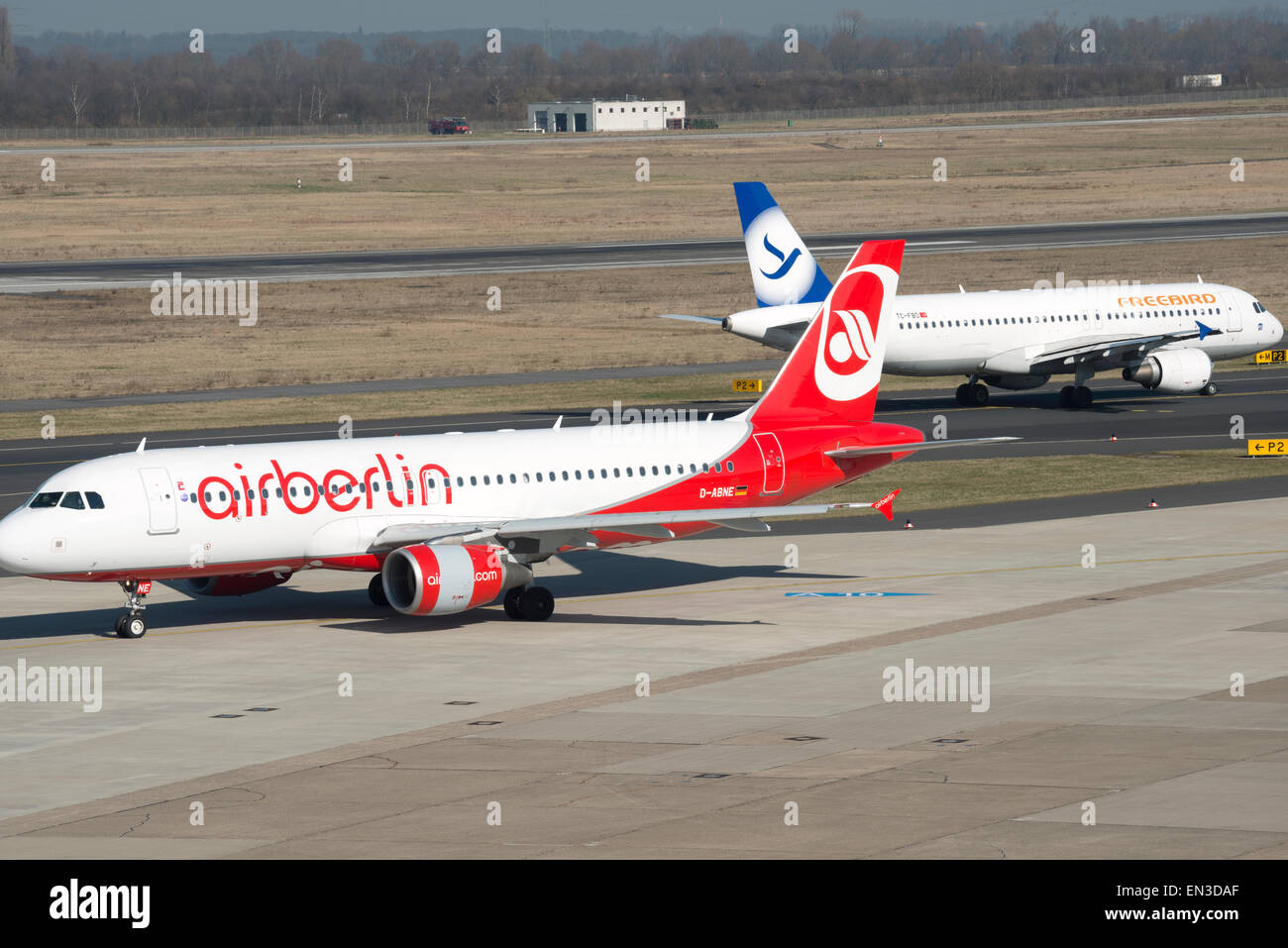 Airberlin & Freebird Airbus A320 airliners - Stock Image