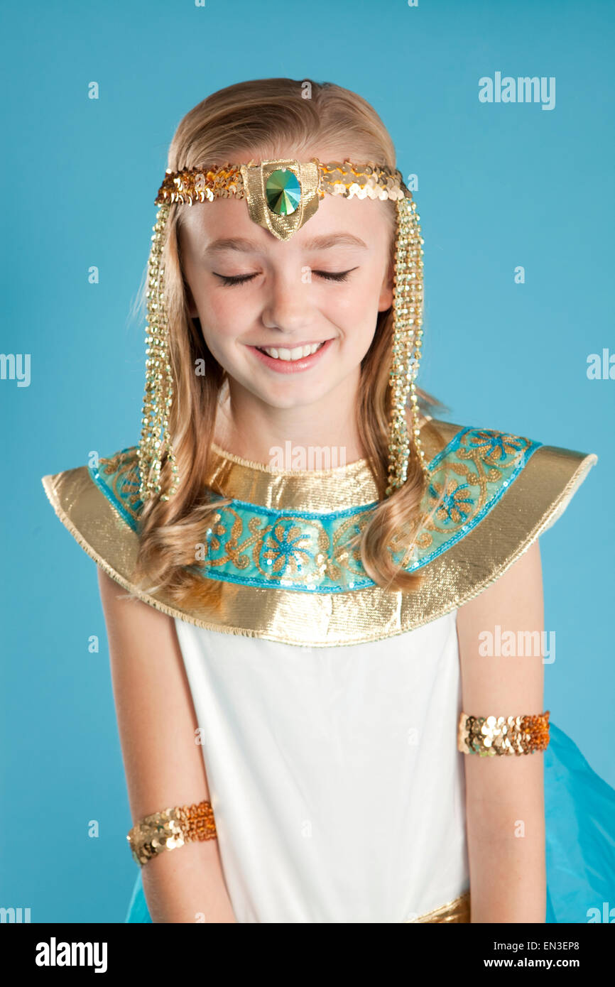941e20404ec Portrait of girl (10-11) in Cleopatra costume for Halloween - Stock Image
