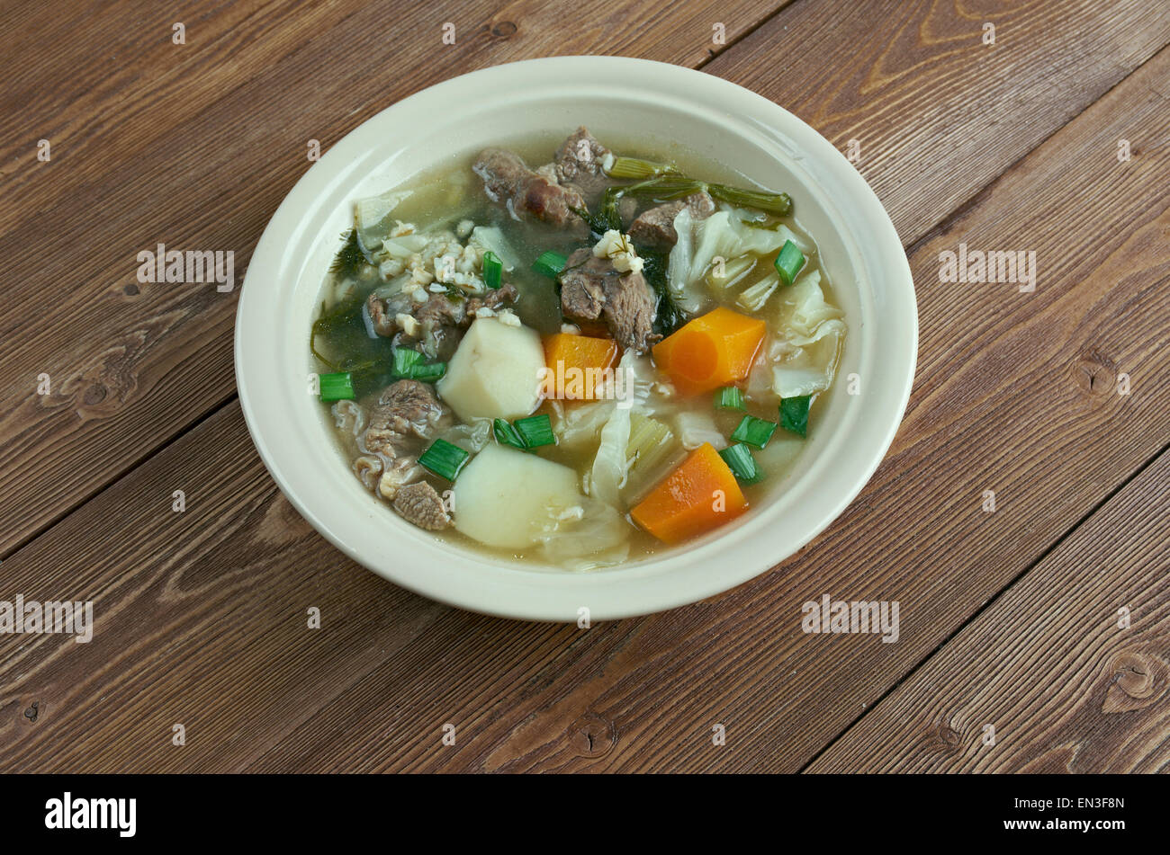 Hairst Bree - Harvest Broth.traditional Scottish recipe for a classic hearty broth of lamb meat, mixed autumnal - Stock Image