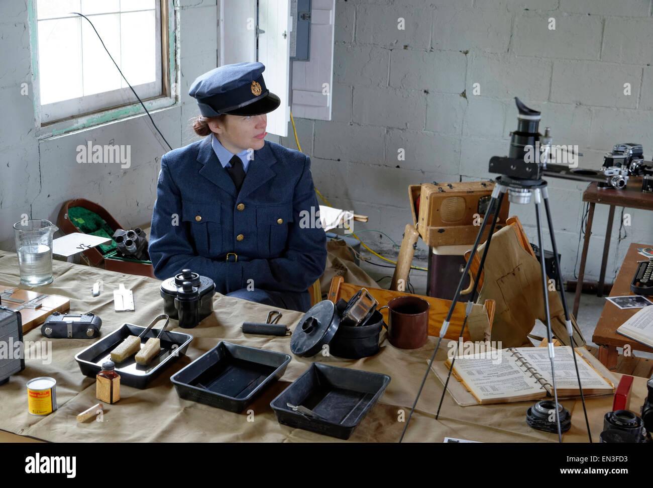 Re-enactor portrays World War II era British war correspondent - Stock Image