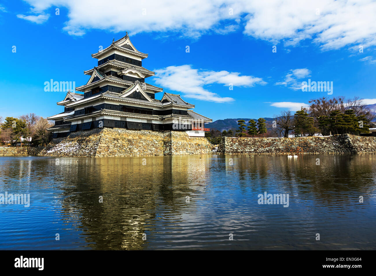 Medieval castle Matsumoto in the eastern Honshu, Japan - Stock Image