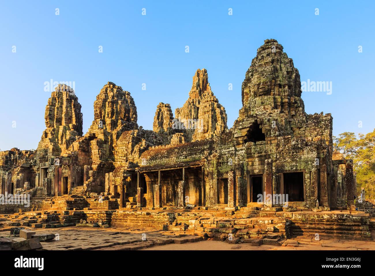 Faces of ancient Bayon Temple At Angkor Wat, Siem Reap, Cambodia - Stock Image