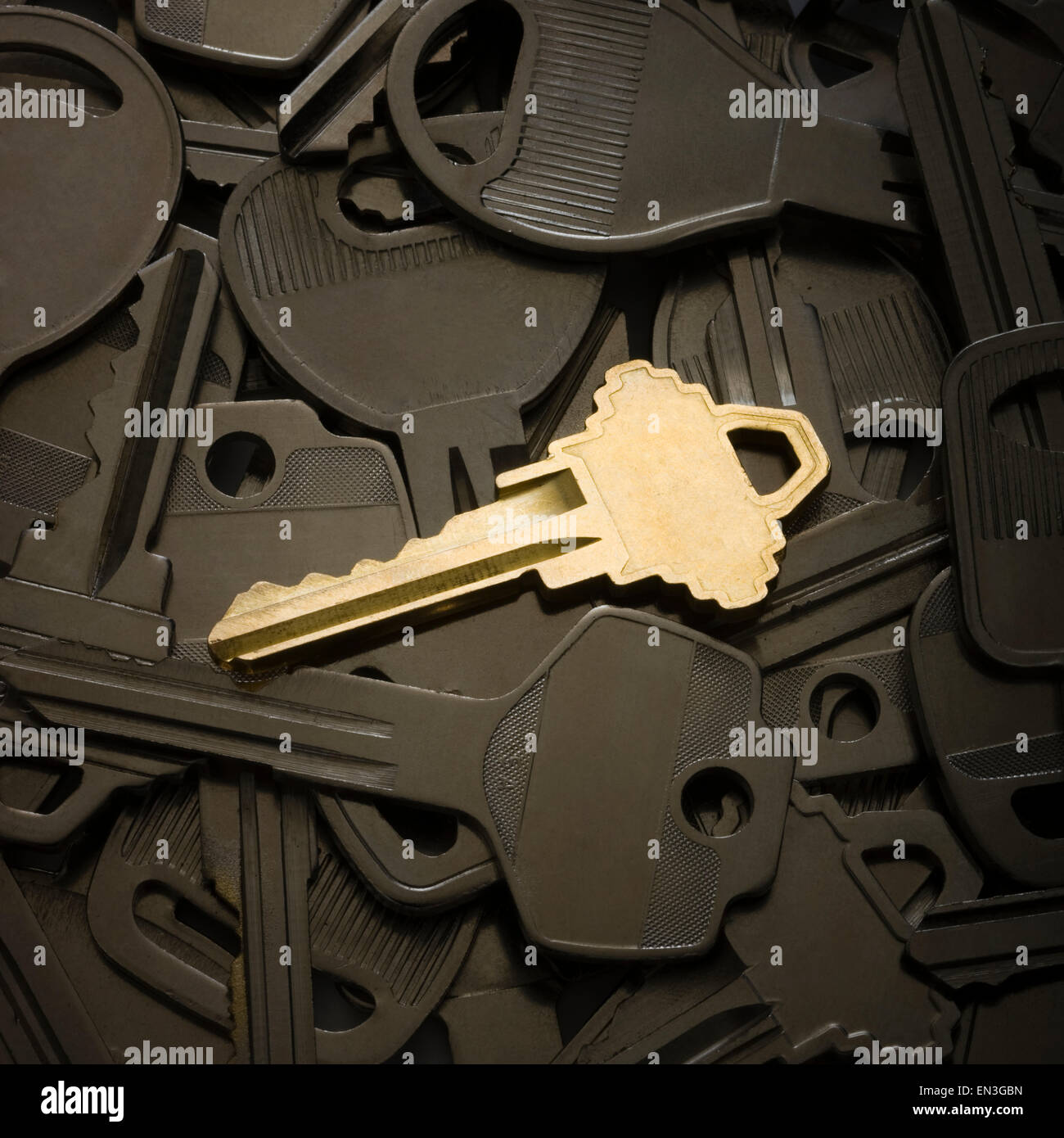 one shiny key lying on top of a bunch of dull keys - Stock Image