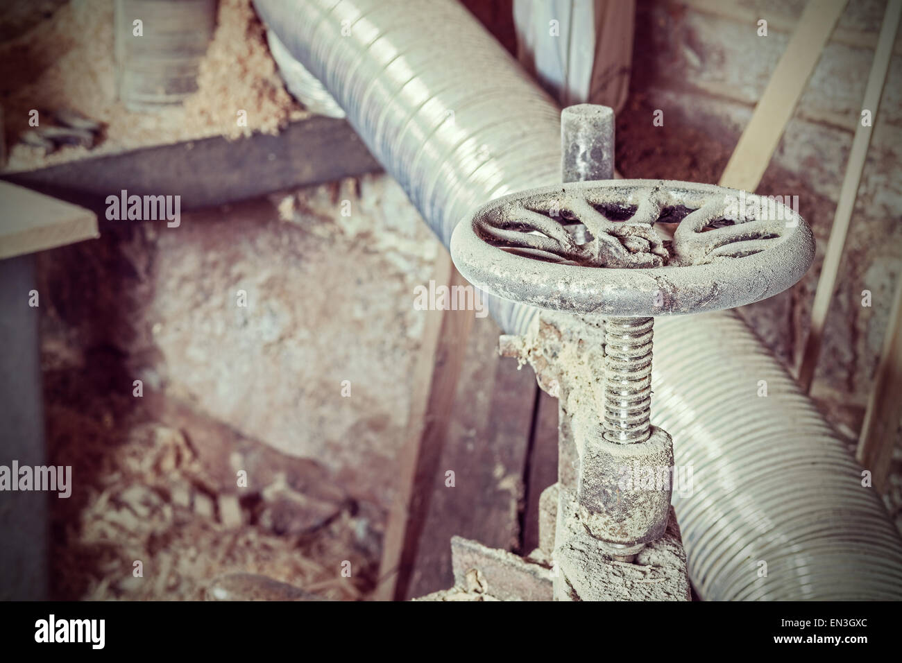 Retro style grungy industrial background. - Stock Image