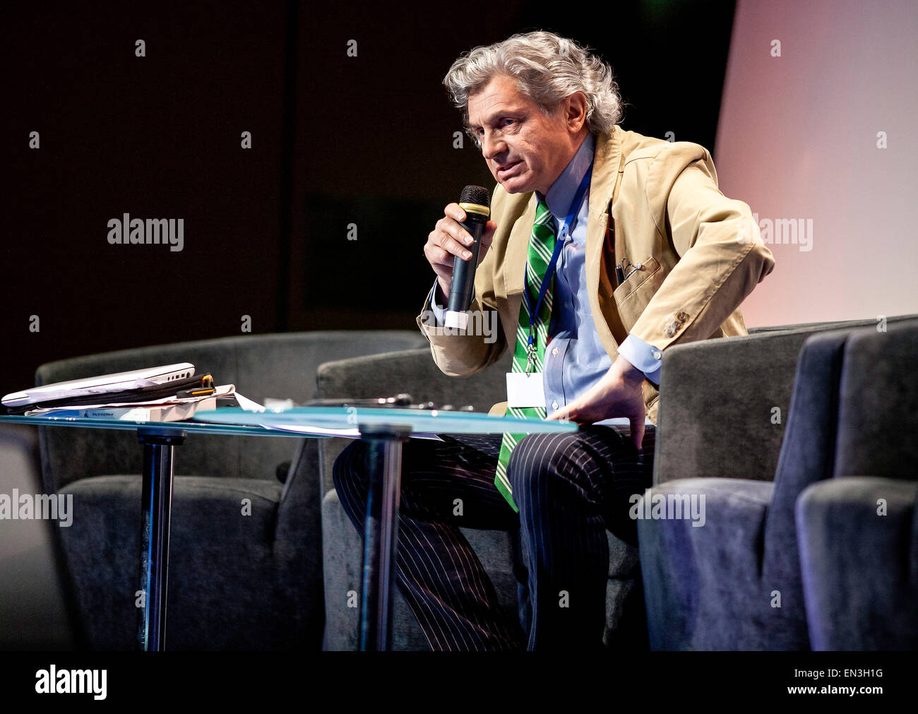 Journalist Alain Frachon of the French newspaper Le Monde - Stock Image