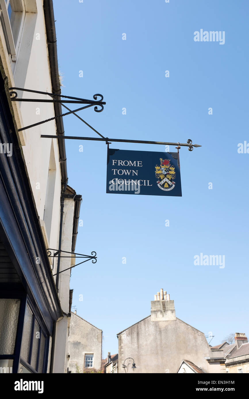Frome Town Council Sign - Stock Image