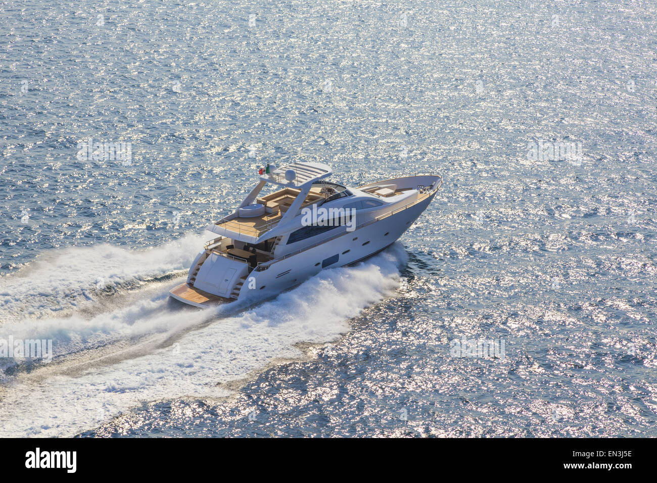 luxury motor yacht in navigation Stock Photo