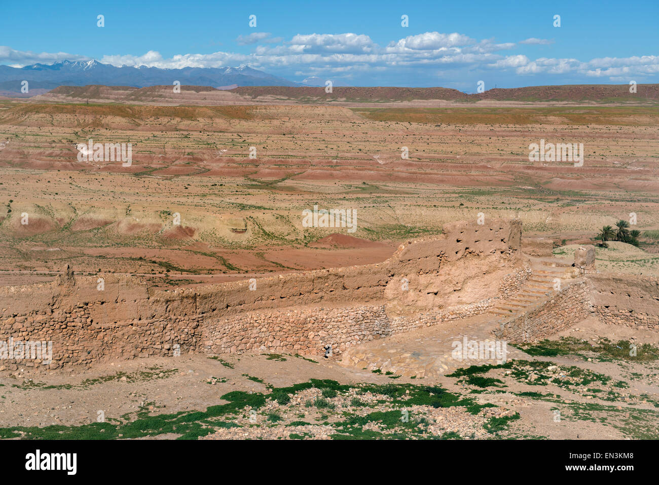 View from Ait Ben Haddou, World Herritage Site.  Fortified city, or Ksar, on Ounila River (Asit Ounila), along former - Stock Image