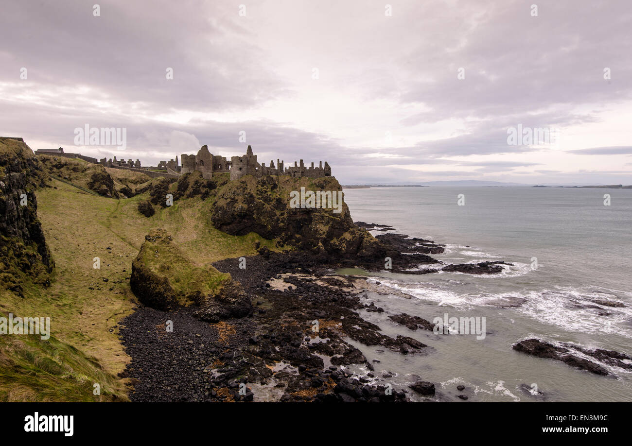 A view on an overcast day of Dunluce medieval castle, County Antrim in Northern Ireland  Credit: Euan Cherry Stock Photo