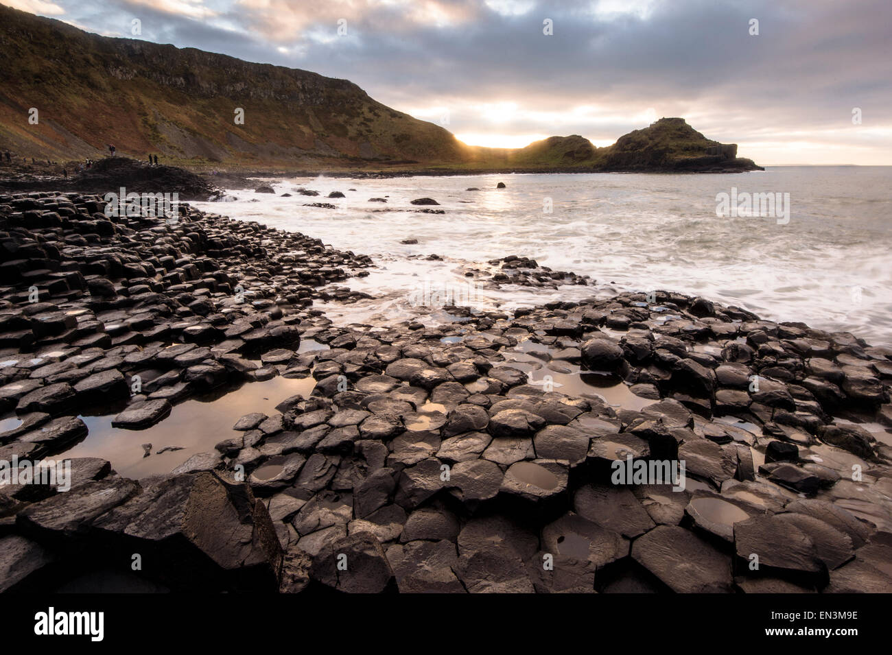 Sunset over Giant's causeway in County Antrim on the northeast coast of Northern Ireland.  Credit: Euan Cherry - Stock Image