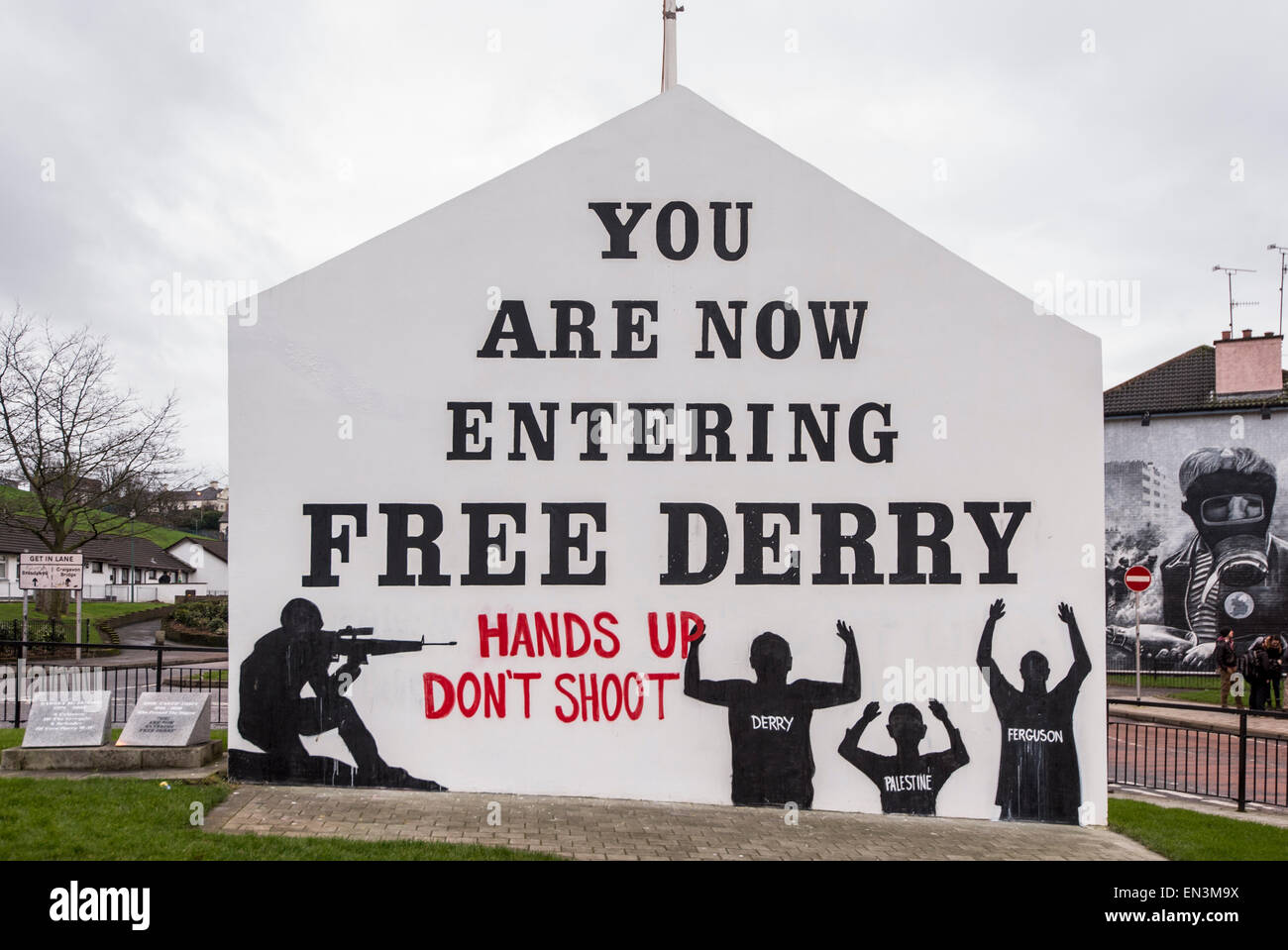 Free Derry Corner in the Bogside neighbourhood of Derry, Northern Ireland, which lies in the intersection of the - Stock Image