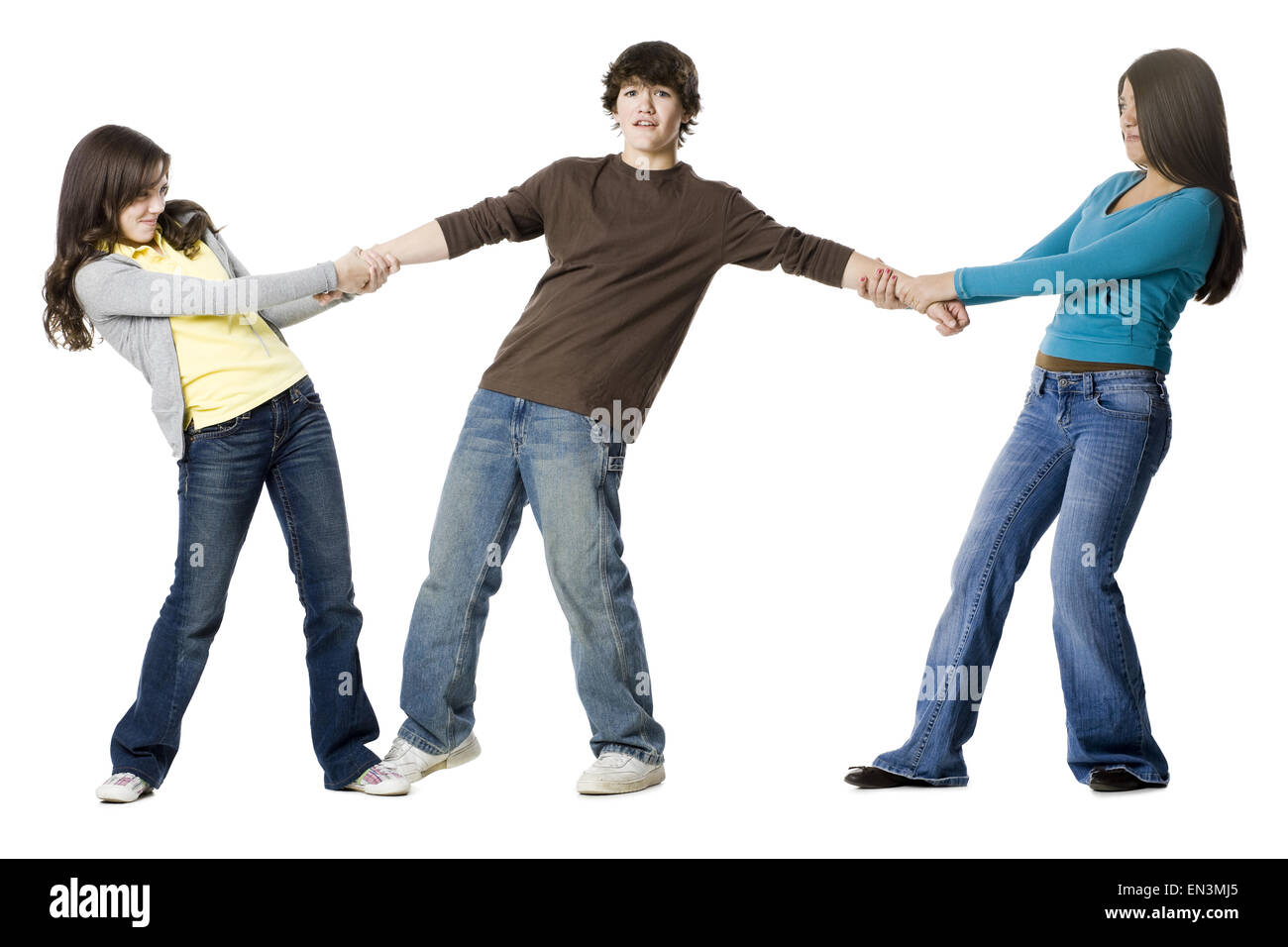 two teenage girls fighting over the same guy Stock Photo ...
