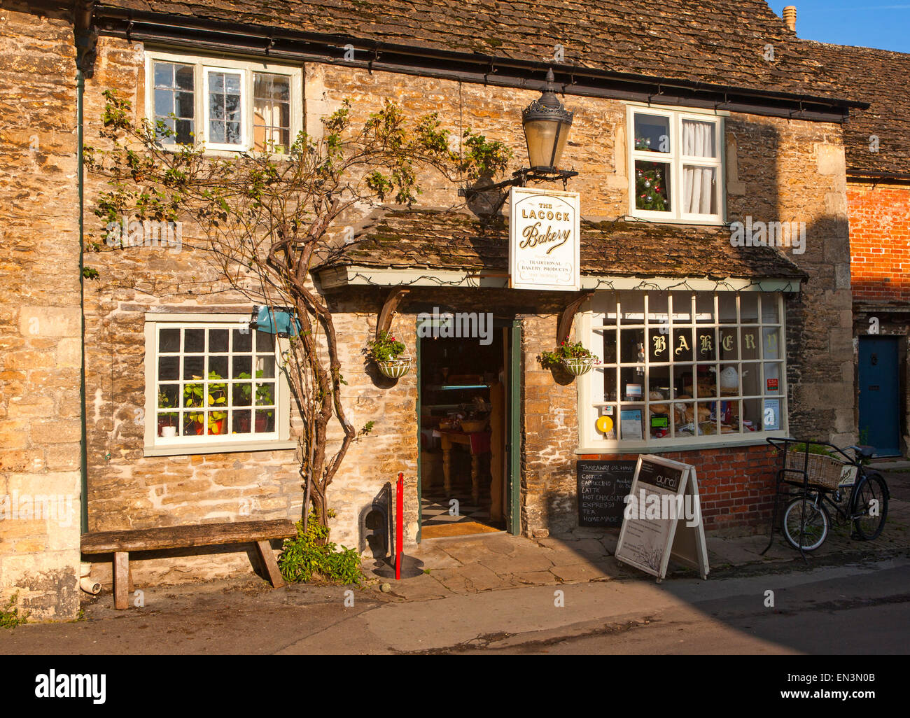 Traditional Old Fashioned Exterior Of Village Bakery Shop At Lacock Wiltshire England UK