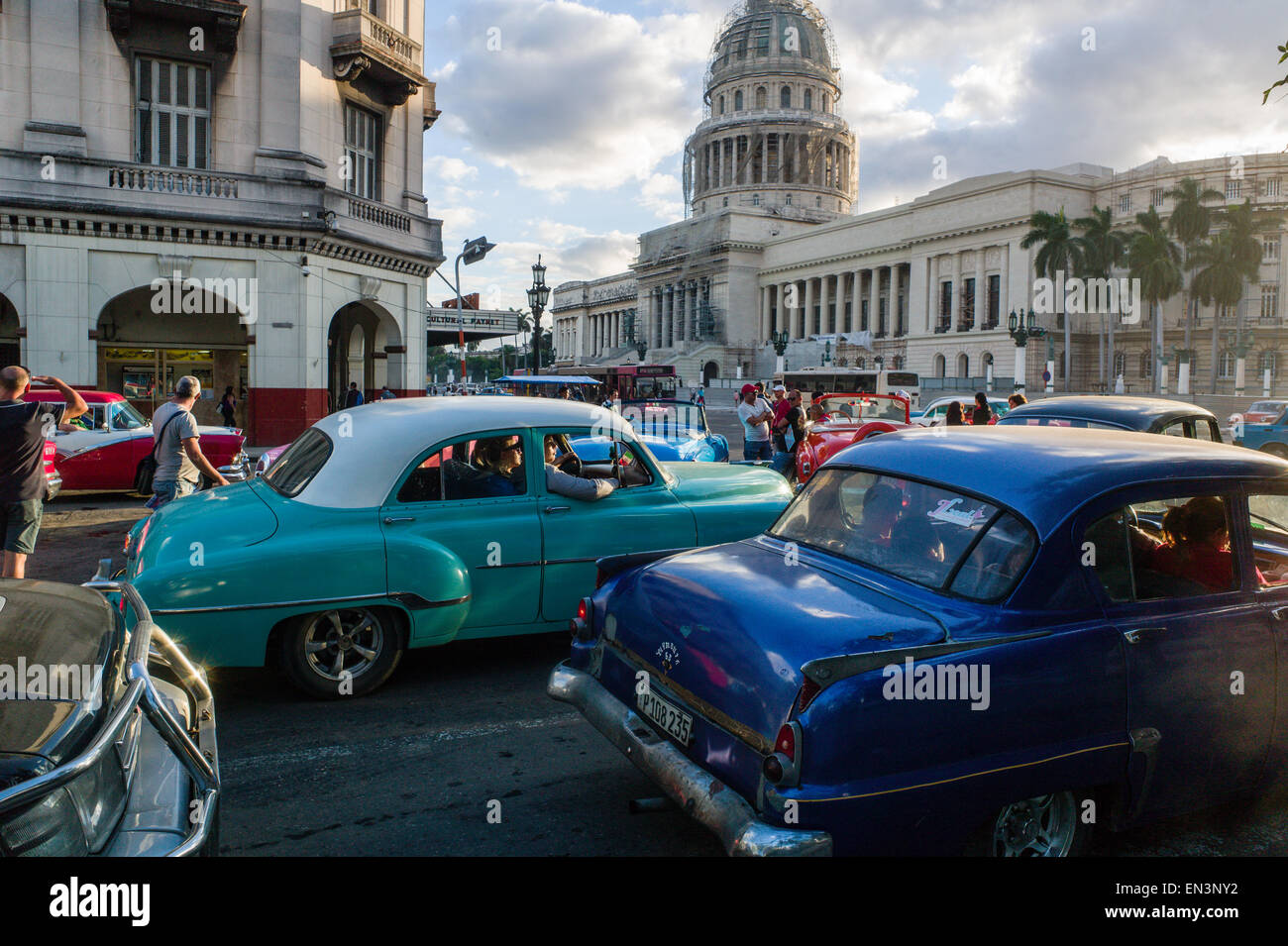 Vintage cars used as taxis in front of the capitol building in Stock ...