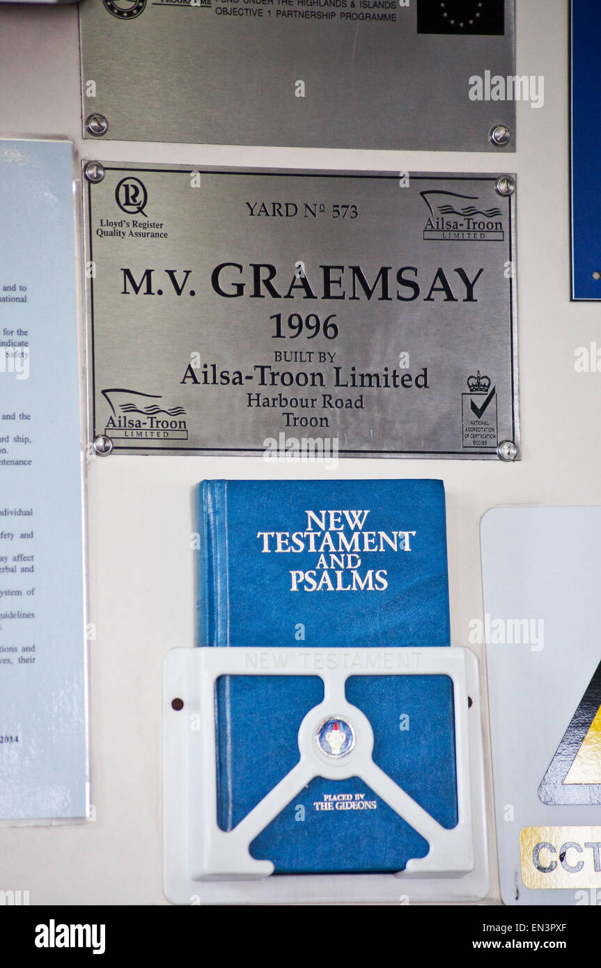 A Gideon bible aboard MV Graemsay, Orkney island ferry, Scotland - Stock Image