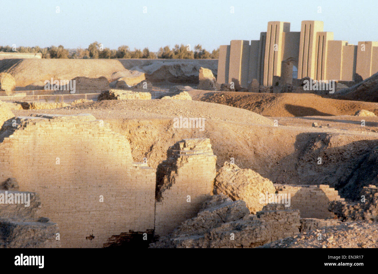 historic ancient Mesopotamian ruins of Babylon in Iraq Middle East - Stock Image