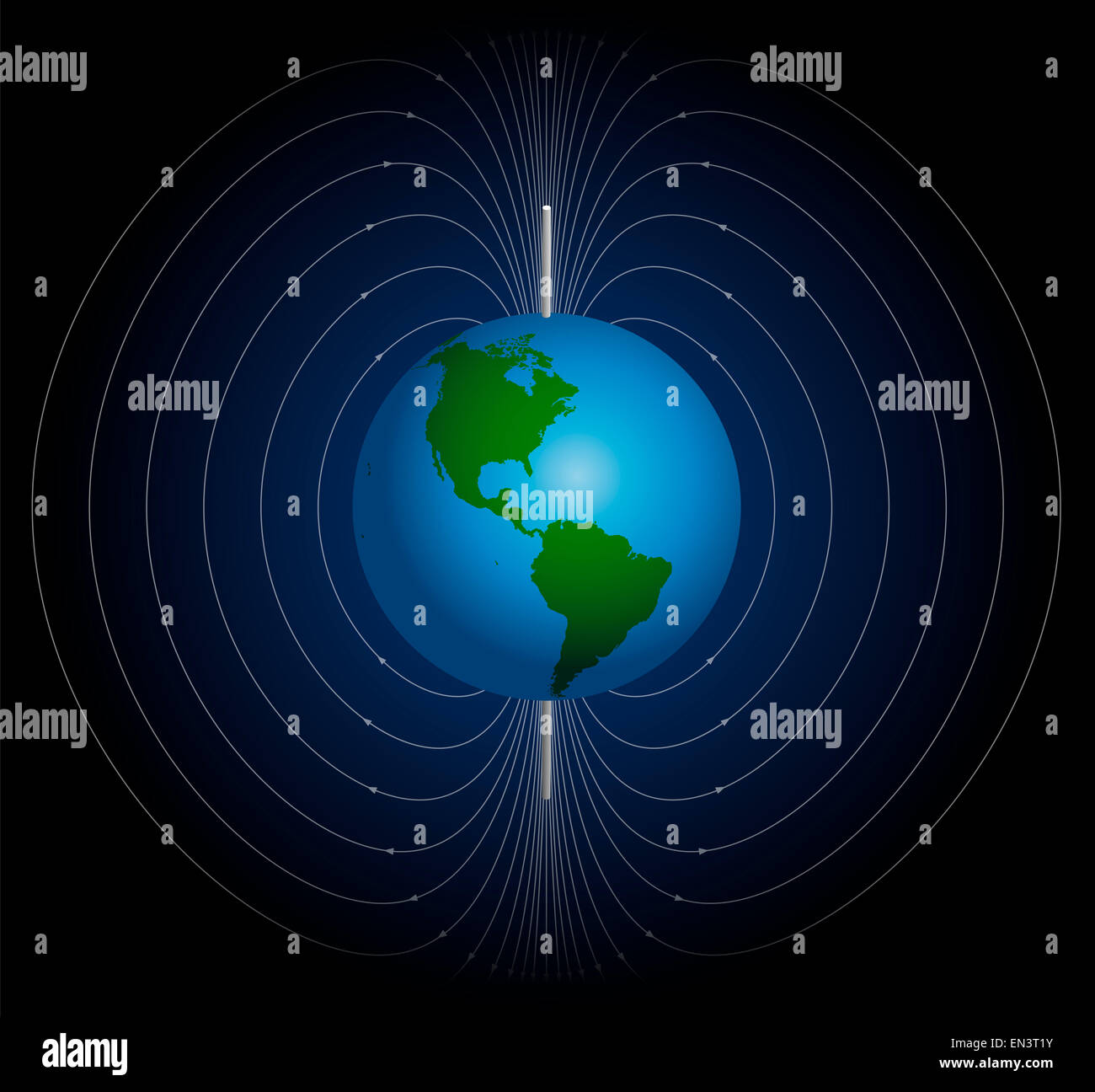 Terrestrial magnetic field around planet earth. - Stock Image