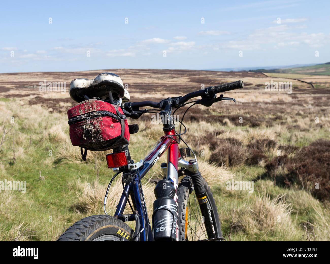 Mountain Bike in Moorland Setting UK - Stock Image