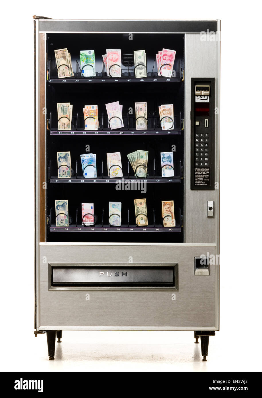 different currencies in a vending machine - Stock Image