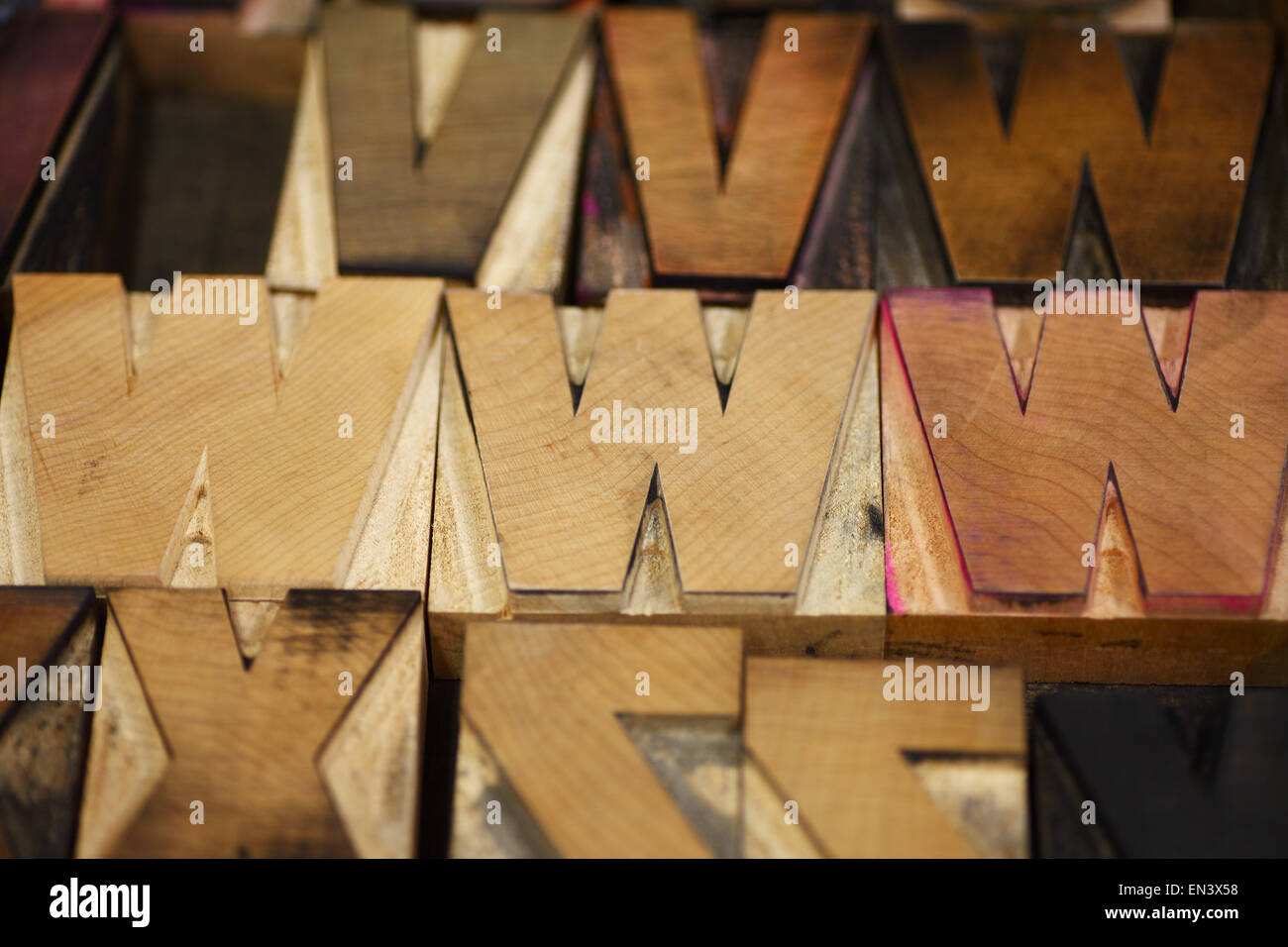 Old letterpress capital letters in a bold font - Stock Image