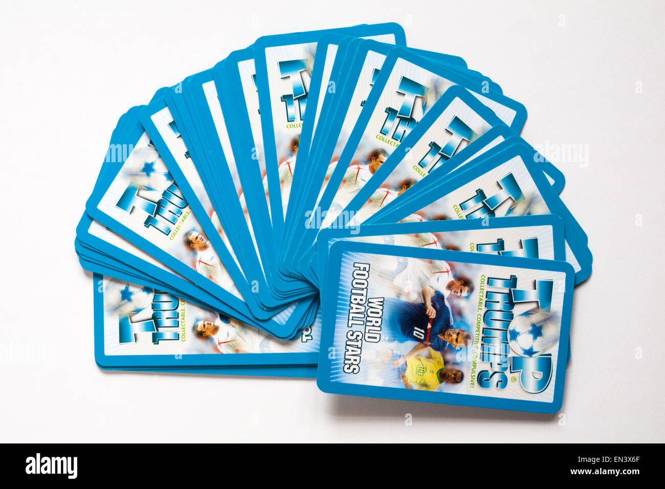 Top Trumps cards World Football Stars isolated on white background - Stock Image