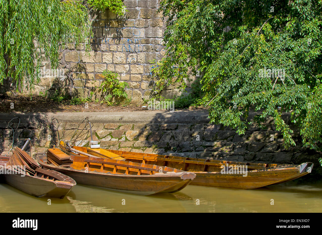 Barges in Tubingen, Germany. - Stock Image