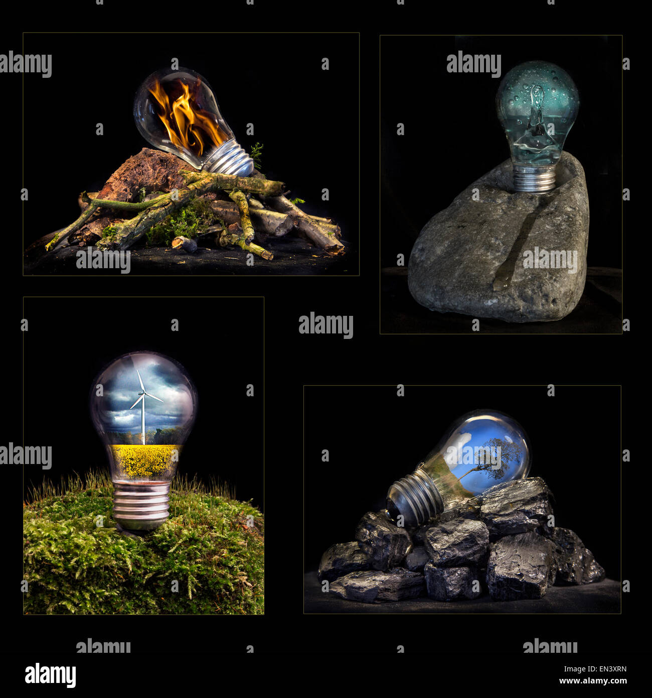 A creative interpretation of the elements, fire, water, wind, earth, represented by a light bulb with the energy - Stock Image