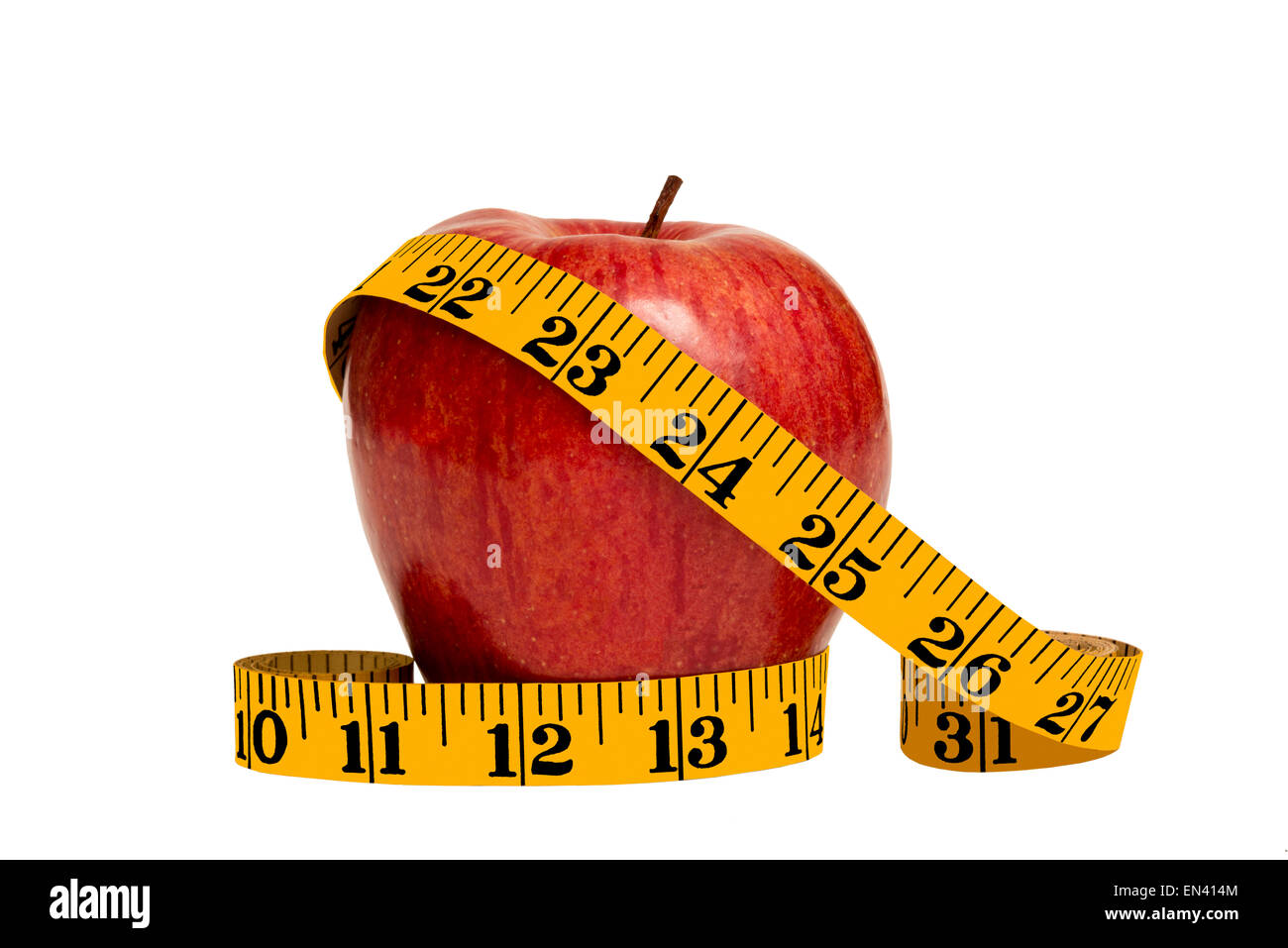 Healthy Red Apple And Tape Measure Close Up - Stock Image