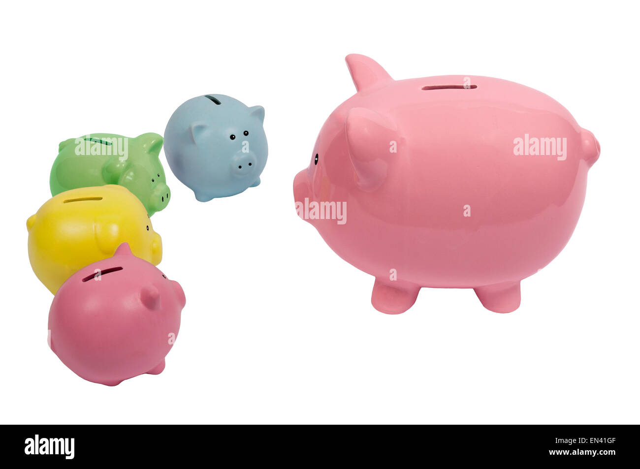 Piggy bank family discussing finances on  a white background. - Stock Image