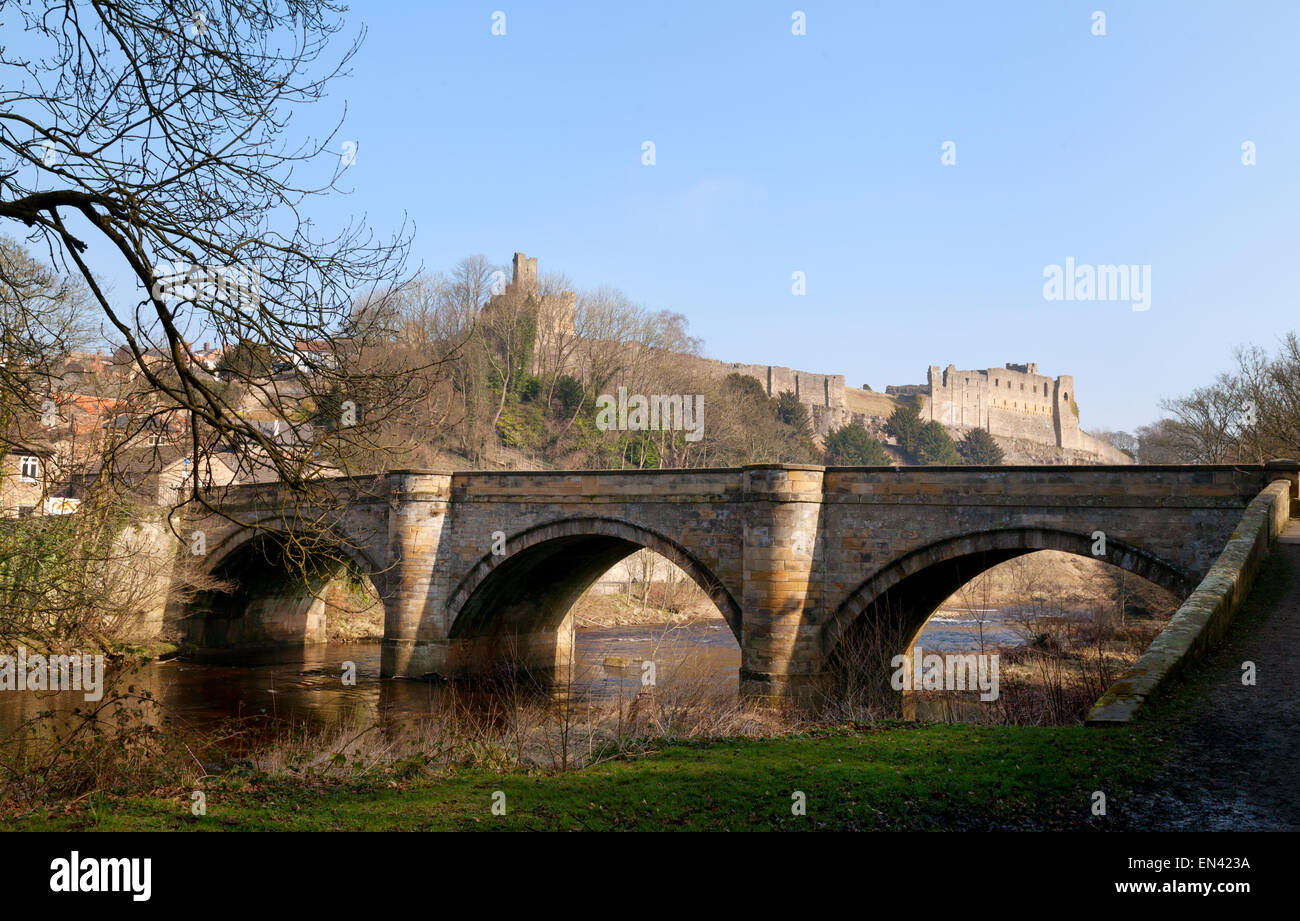 Richmond Castle, the River Swale and Green Bridge, Richmond town, North Yorkshire England UK - Stock Image