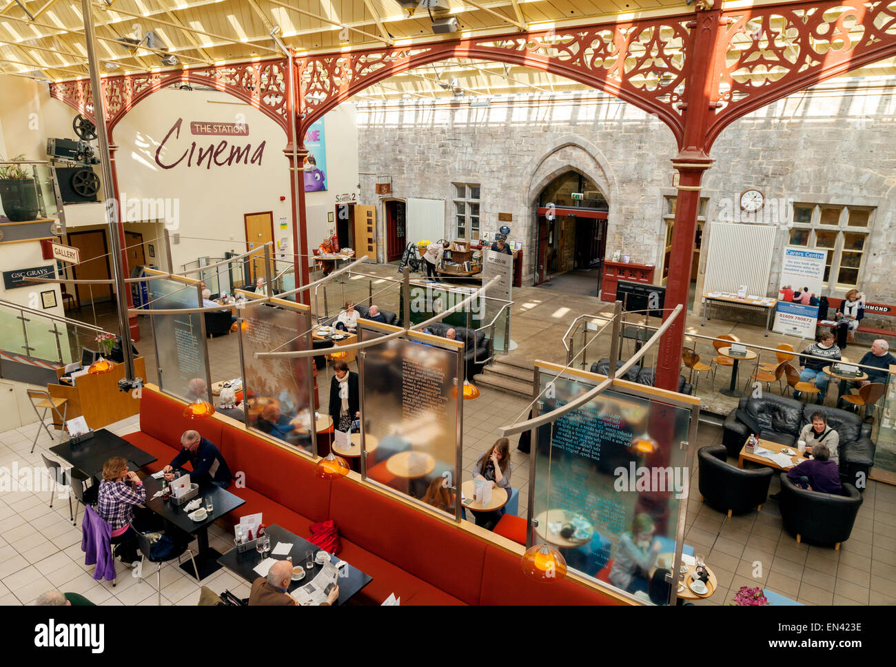 The restored Richmond Railway Station, now a cinema, art gallery and shops, Richmond, Yorkshire England UK - Stock Image