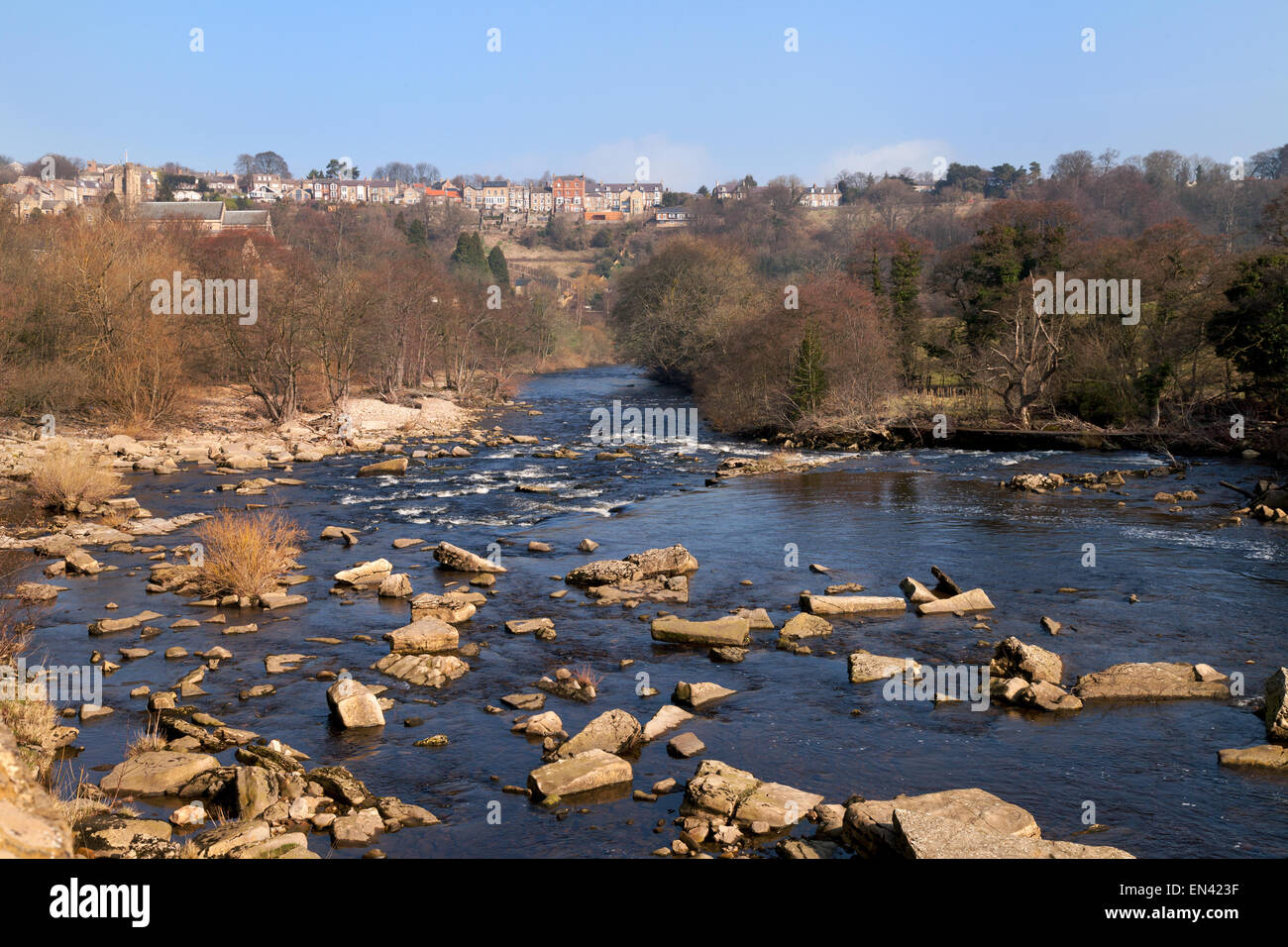 The River Swale and the town of Richmond, Yorkshire, UK - Stock Image