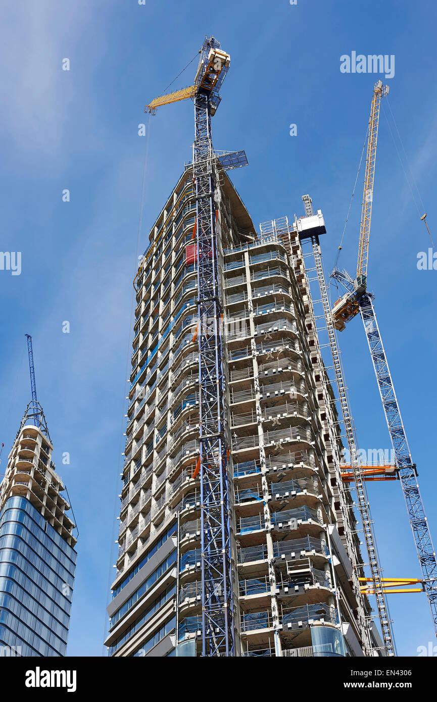 New high rise residential development, under construction, City Road, Islington, London - Stock Image