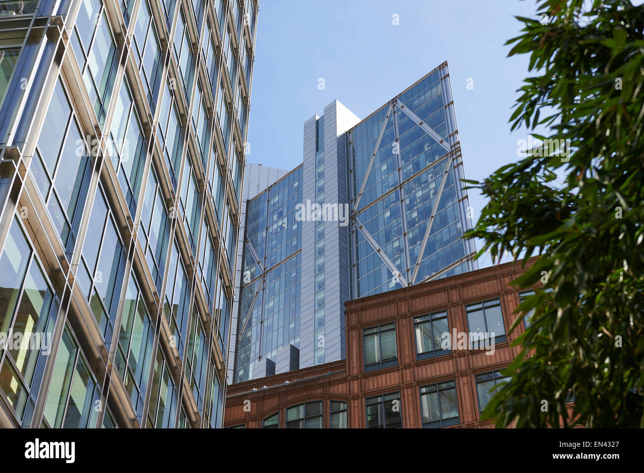 Modern architecture in the Broadgate area, City of London, UK - Stock Image