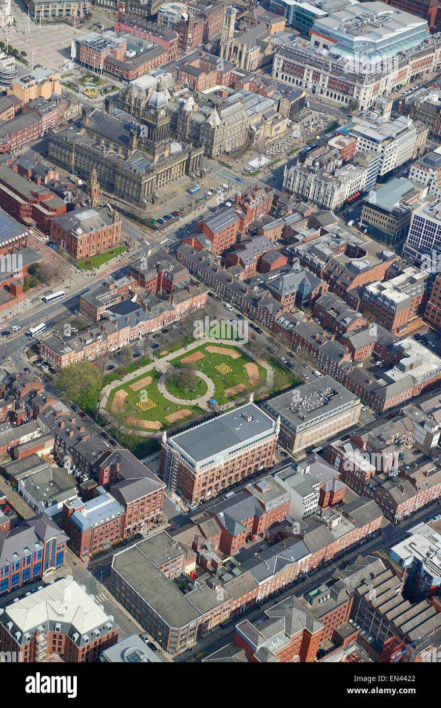 An aerial view of Park Square and the Town Hall, Leeds City centre, April 2015, West Yorkshire, Northern England, Stock Photo