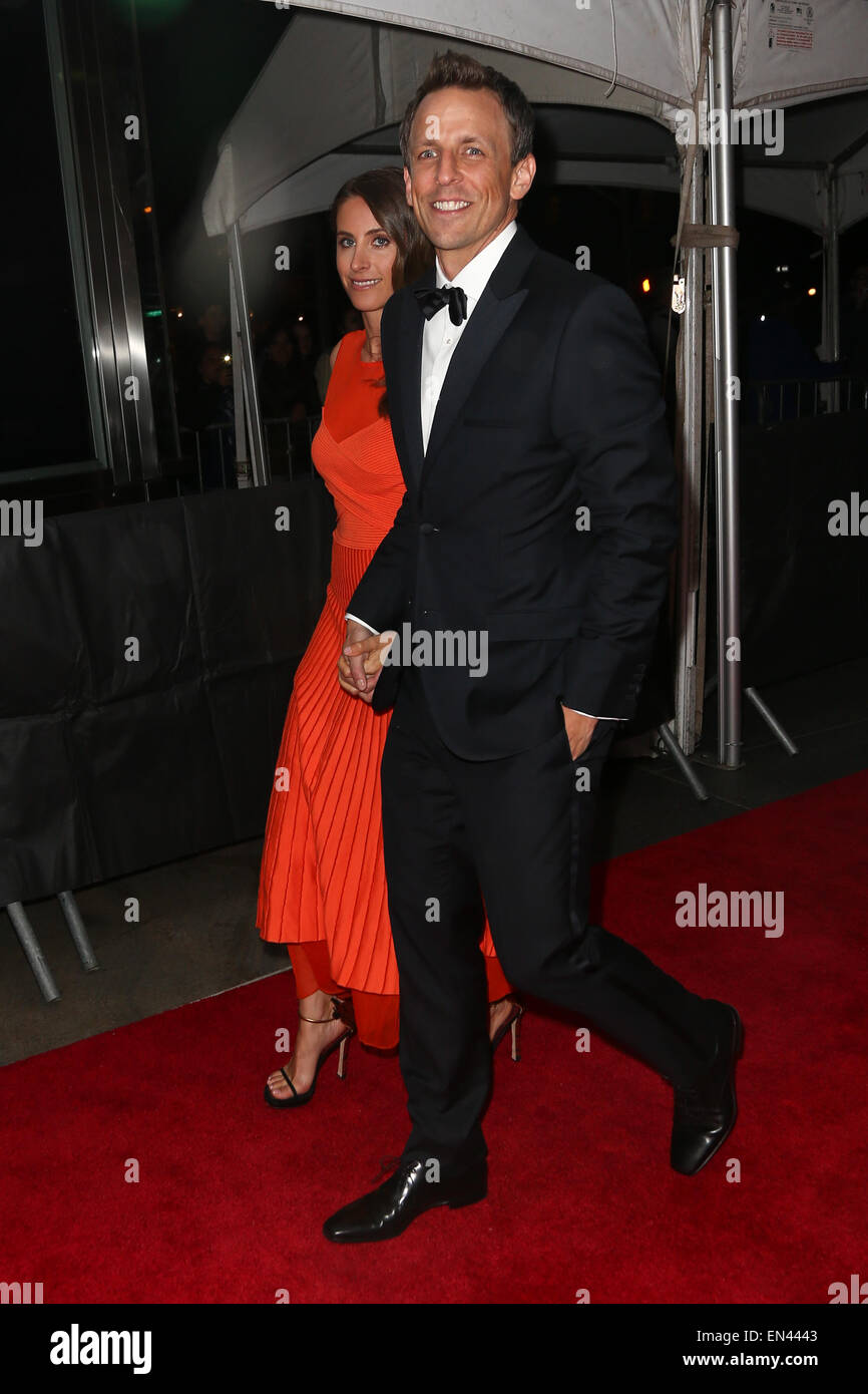Seth Meyers (R) and wife Alexi Ashe attend the 2015 Time 100 Gala at Frederick P. Rose Hall, Jazz at Lincoln Center. - Stock Image