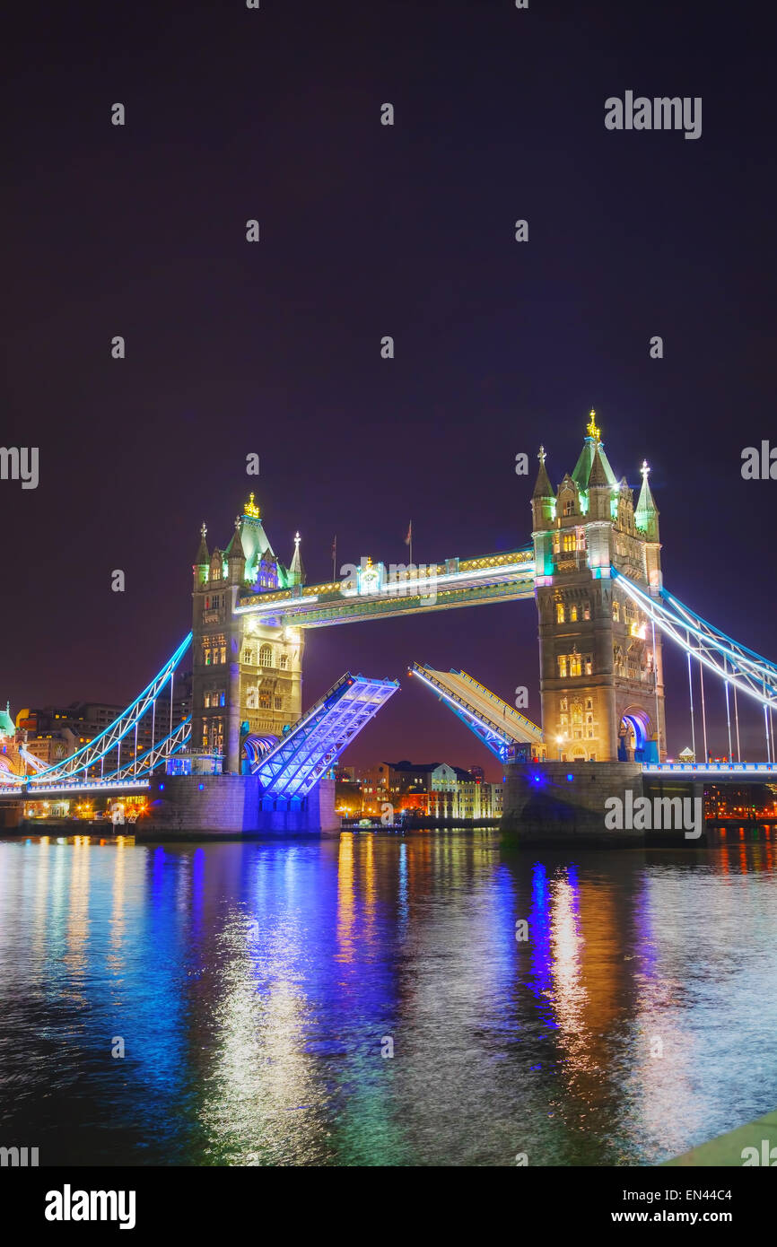 Tower bridge in London, Great Britain at the night time - Stock Image