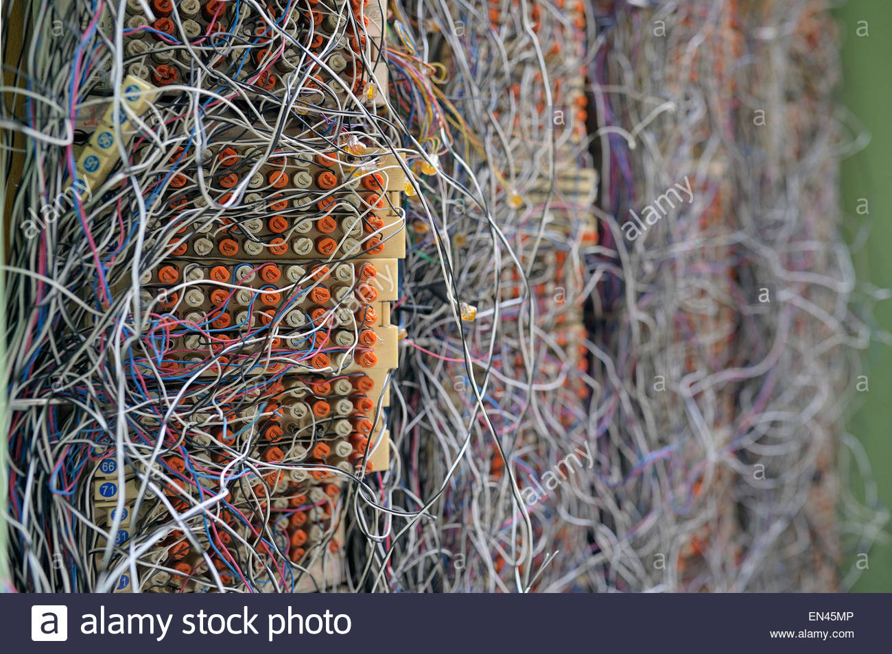 Chaotic Mess Network Cables Tangled Stock Photos Messy Wiring Switchboard Panell With Connections Image