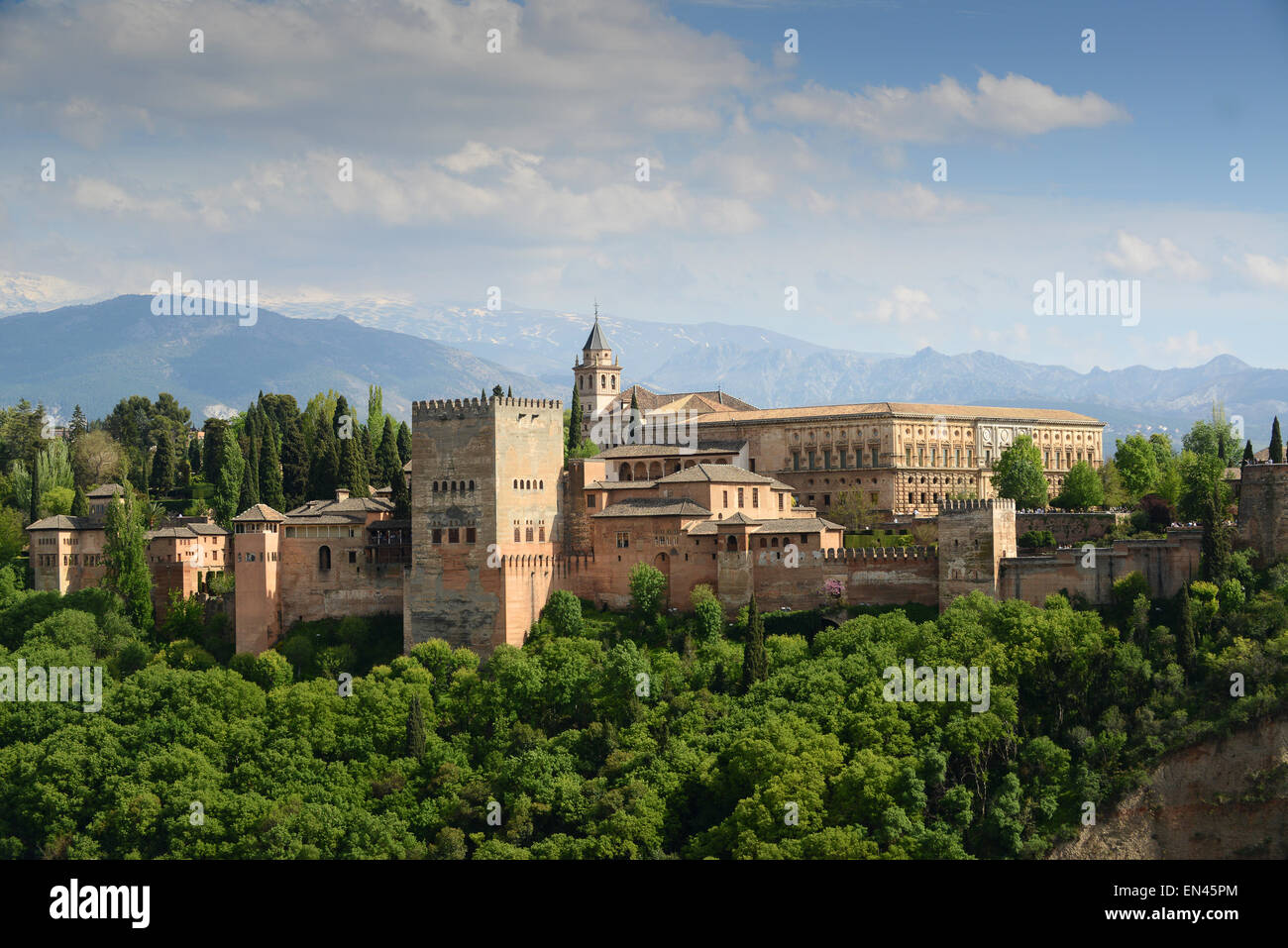 Alhambra Palace in Granada Andalucia Spain Europe - Stock Image