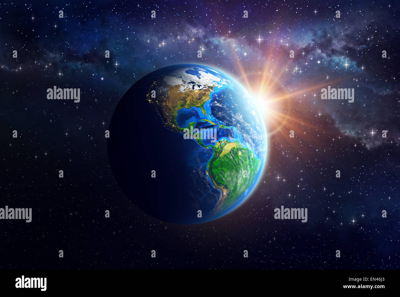 Illuminated face of the Earth in space. Detailed view of American continent. Elements of this image furnished by - Stock Image