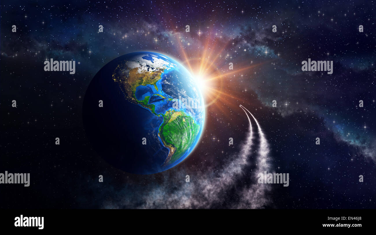 Earth in outer space, celestial body in orbit. View of American continent. Elements of this image furnished by NASA - Stock Image