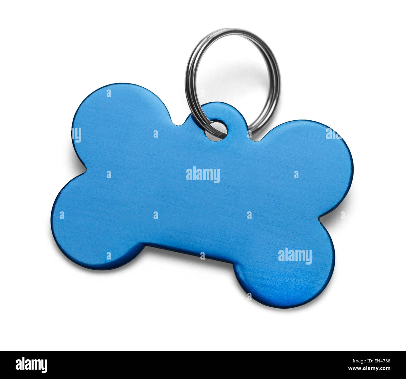 Blank Metal Bone Dog Tag With Ring Isolated on White Background. Stock Photo