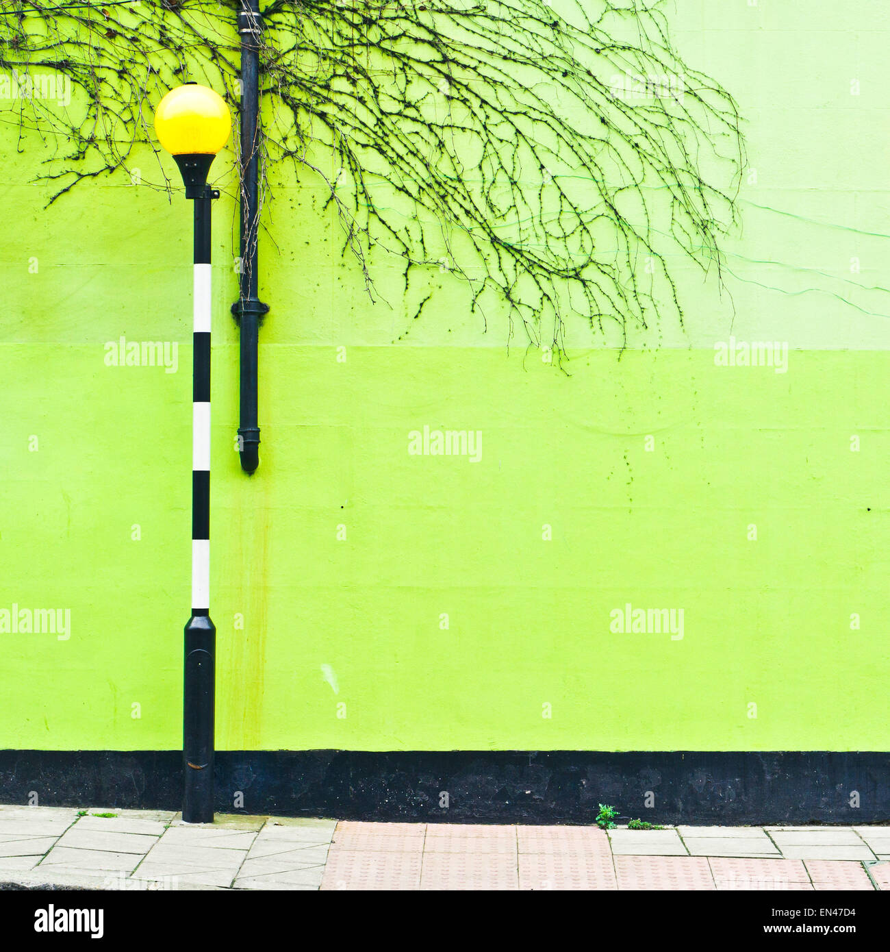 A light at a zebra crossing in front of a green wall in London, UK Stock Photo