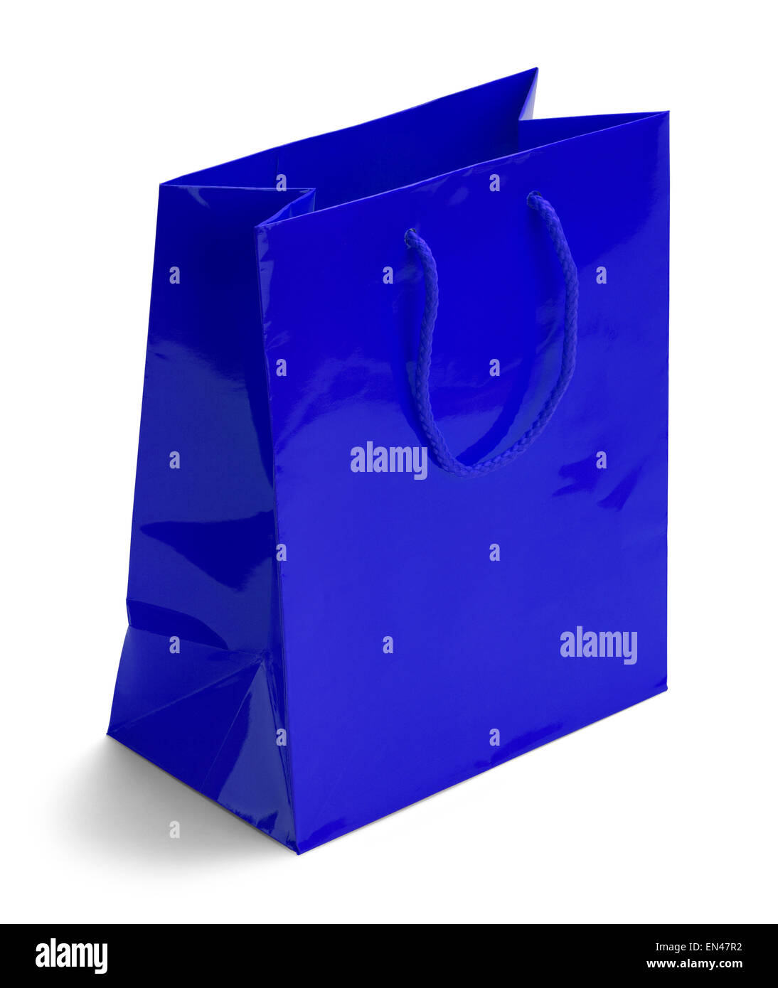 Shiny Blue Retail Shopping Bag Isolated on a White Background. - Stock Image