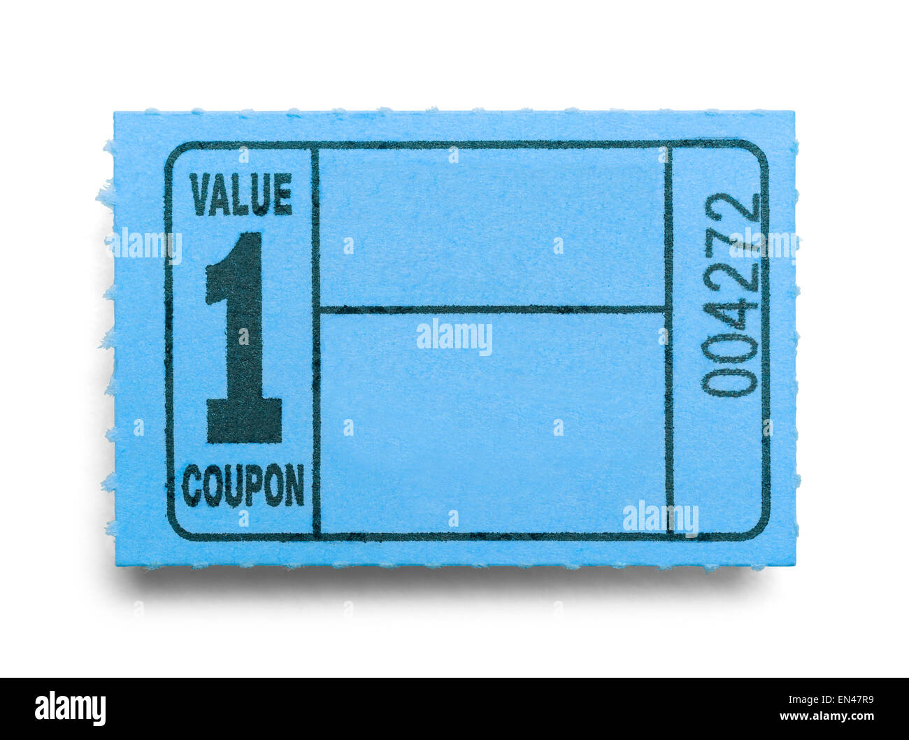 Small Blue Coupon Ticket Isolated on a White Background. - Stock Image