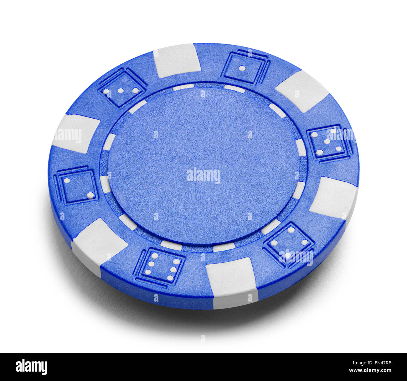 Blue Poker Chip with Copy Space Isolated on a White Background. - Stock Image