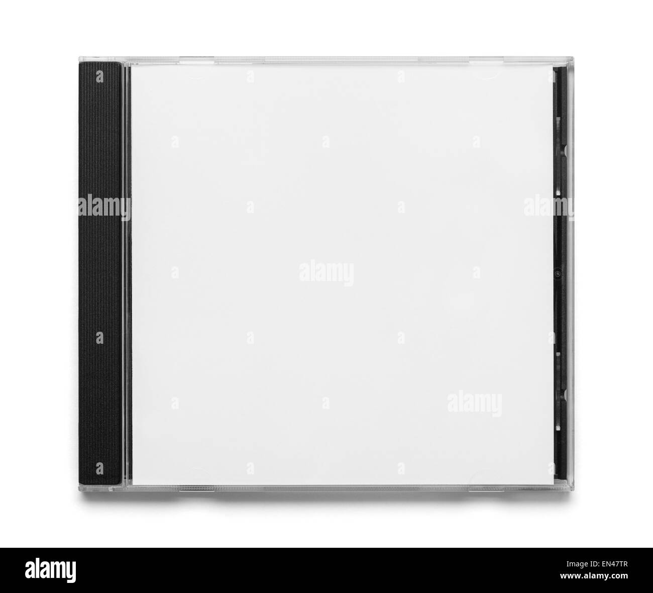 Blank Black and White CD Case Top View Isolated on White Background. - Stock Image