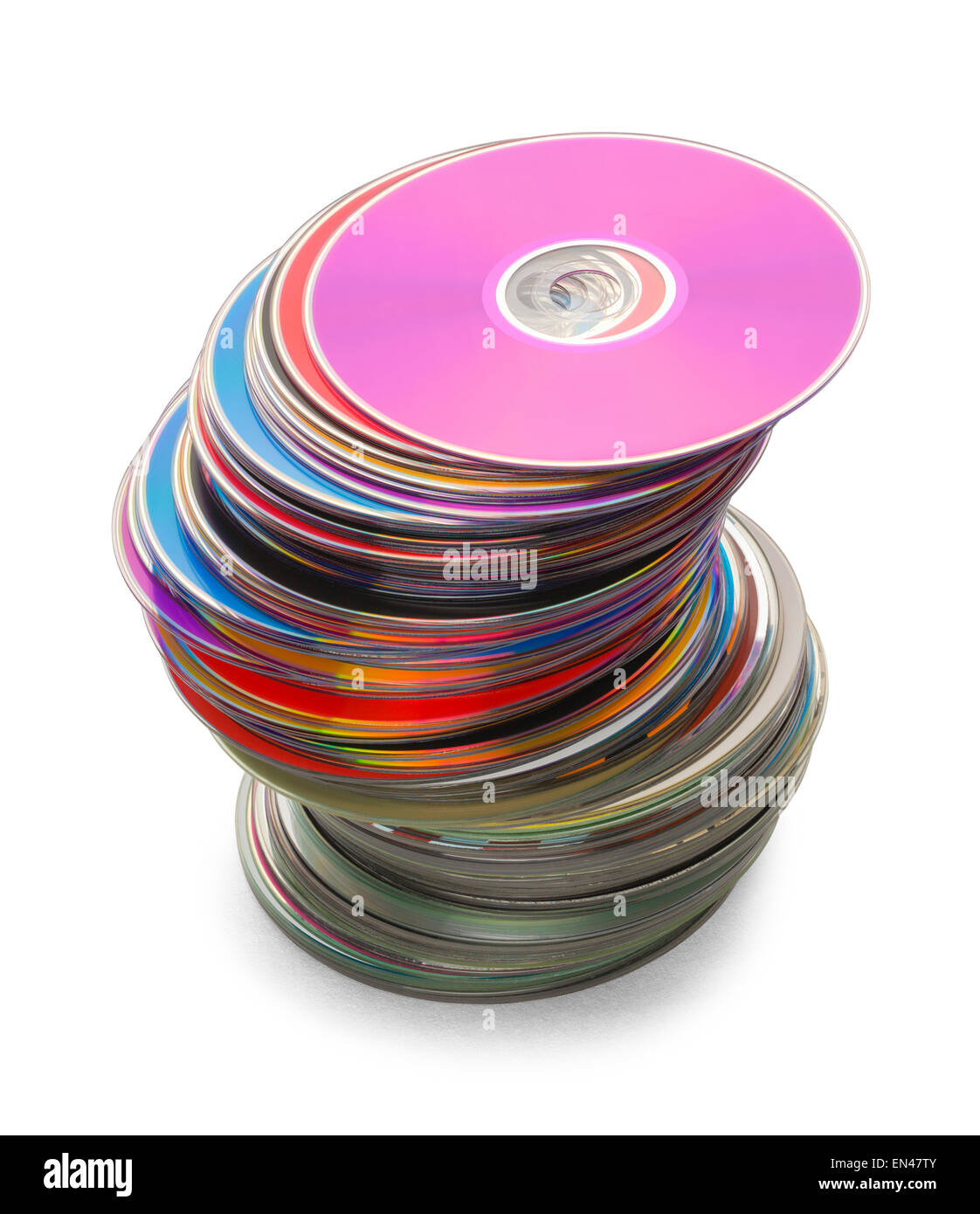 Computer Discs in a Large Leaning Stack Isolated on a White Background. Stock Photo